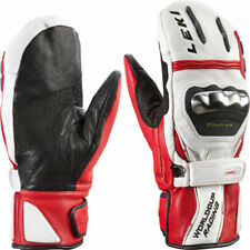 NEW $200 Leki World Cup Racing Titanium S Leather Ski Mittens Gloves White Mens