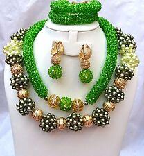 Exclusive Green Pearl Swarovski Beads Party Bridal Wedding Jewellery Set