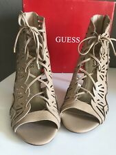 GUESS Women's Luanna Lace Up Heels Light Natural Size 10