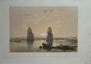 1856 DAVID ROBERTS COLOSSAL STATUES IN THE PLAIN OF THEBES QUARTO EDITION