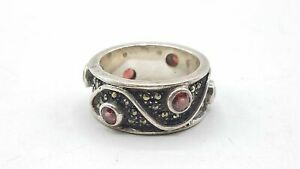 Judith Jack 925 Silver Garnet & Marcasite Size 8 Ring BT698