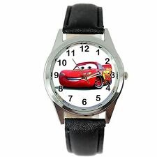 CARS CAR RACING BLACK LEATHER FILM MOVIE CINEMA DVD FAIRY TALE STEEL WATCH GIFT