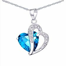 Mabella 5.71 TCW 12mm Heart Cut Created Blue Topaz Sterling Silver Pendant With 18 Chain