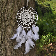 Lady Women Girl White Crochet Feather Dream Catcher Door Room Car hanger gift