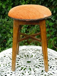 Vintage Original Traditional Wooden Low Pub Bar Stool Padded Seat Top