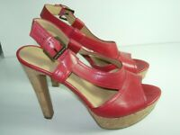 WOMENS RED LEATHER NINE WEST SLINGBACK SANDALS STILETTO HEELS SHOES SIZE 8 M
