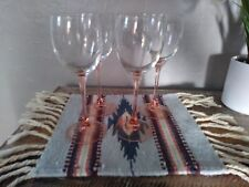 Made in France set of four pink glass goblets