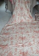 Vintage French a Pair of Window Panels + Bed Coverlet Toile de Jouy Fabric