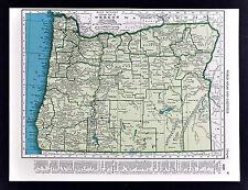 c. 1930 Rand McNally Map - Oregon - Portland Salem Astoria Klamath Falls Mt Hood