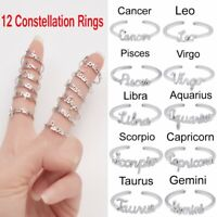 12 Constellations Letters Finger knuckles Open Copper Rings Women Wedding Gift
