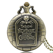 Tim Burton's Nightmare Before Christmas Retro Pocket Watch Pendant Steampunk+Bag