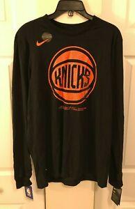 Nike Men's Medium M New York Knicks NBA Long Sleeve Shirt Black CD2823-010 New