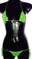 GREEN OR ANY COLOR HANDMADE CROCHET MICRO THONG BIKINI CUSTOM MADE FOR YOU