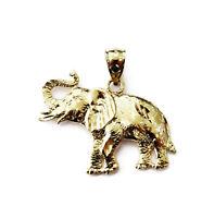 14K Yellow Gold Elephant Charm Necklace Pendant ~ 2.8g