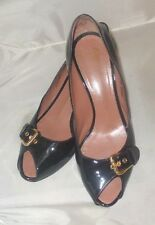 Giuseppe Zanotti 7.5 Made In Italy Black Patent Leather Peep Heels Women's Shoe