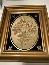 More details for antique embroidery georgian silk 19th century picture framed