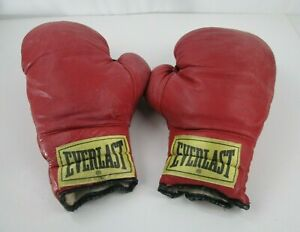 EVERLAST Vintage Heavy 16oz Red Boxing Gloves Mitts Man Cave