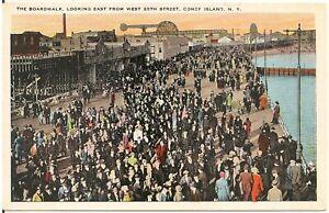 Boardwalk Looking East at Coney Island NY Postcard Amusement Park