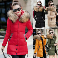 Women Winter Warm Fur Collar Hooded Long Coat Jacket Slim Parka Outwear Coats CA