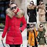 Women Winter Warm Fur Collar Hooded Long Coat Jacket Slim Parka Outwear Coats CA