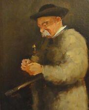 S o G Kroll- ?? unleserlich  Gemälde 1902: SÜD-DEUTSCHER HERR MIT PFEIFE u STOCK