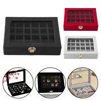 24 Grid Velvet Glass Jewellery Ring Display Case Holder Earring Storage Box UK