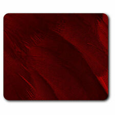 Computer Mouse Mat - Dark Red Bird Feather Macro Office Gift #3985