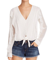 Bardot Womens Sz 8 M Swiss Dot Ivory Tie Front Button Frt Top Blouse Long Sleeve