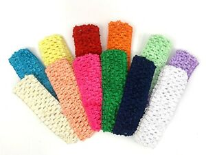 "Baby Crochet Headbands 1.5"" Elastic Headbands for Girls 12 pcs set USA SELLER"