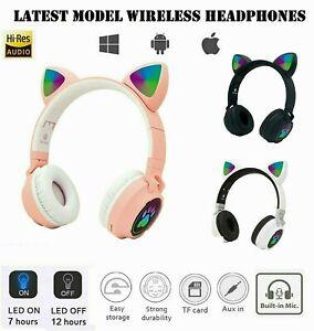 Kids Headphones Wireless Bluetooth Headset LED Lights Cat Ear Earphone Children