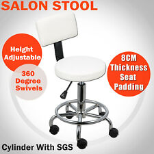 Salon Stool Swivel Withe Chair Backrest Barber Hairdressing Hydraulic Height