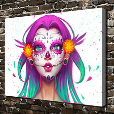 Sugar skull Colored drawing HD Print on Canvas Home Decor Wall Art Pictures