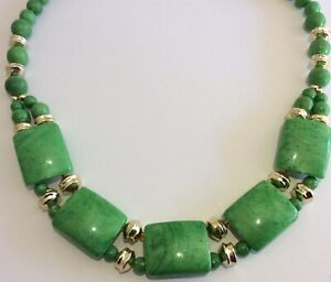 Vintage Jewellery Lovely Lime Green Lucite Panel Link & Bead Retro Necklace