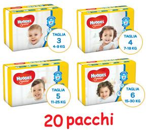 PANNOLINI HUGGIES UNISTAR 20 PACCHI TAGLIA A SCELTA 3-4-5-6 A SCELTA