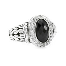 John Hardy Batu Onyx and Pave Diamond Ring in Sterling Silver | FJ