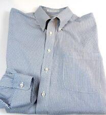 Mens Paul Fredrick LS Shirt Navy Striped Button Down Collar, 18 x 35