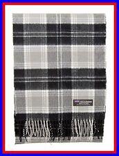 100% Cashmere Scarf Grey Black Check Plaid Scotland Ghram Nova Flannel Wool ZS64
