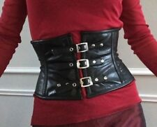 High Quality Black Genuine Leather Waist Cincher Steampunk Corset by Hoss