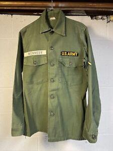 US Army Sateen OG-107 Utility Shirt 14.5 x 33 OD Green Kennedy White Tab Veteran