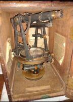 Antique/vtg CL Berger & Sons Brass Surveyor Transit With Case Boston MA