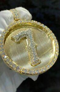 2.5Ct Round Cut VVS1 D Diamond Men's Lucky Number Pendant 14K Yellow Gold Finish