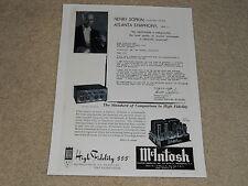 McIntosh C-8P Audio Compensator, MC-60 Tube Amplifier Ad, 1 pg, 1956