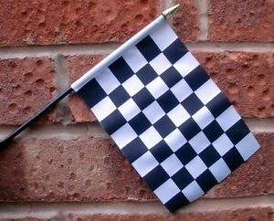 """BLACK AND & WHITE CHECKERED HAND WAVING FLAG Small 6"""" x 4"""" with pole MOTOR SPORT"""