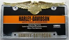 HARLEY DAVIDSON METAL LICENSE PLATE FRAME GOLD EAGLE NEW L739