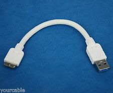10cm SHORT WHITE Micro USB 3.0 Cable for Samsung Galaxy Note 3 4G LTE SM-N9005