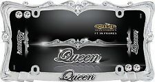 Queen License Plate Frame - Chrome with Clear Bling Crystals - wi. Diamond Caps!