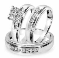 His & Her Diamond Engagement Ring 14K White Gold FN Trio Set Bridal Wedding Band