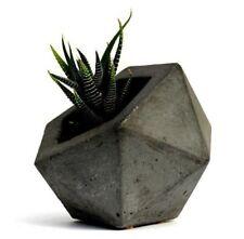 Geodesic Concrete Planter Flower Pot Handmade Home & Garden Decor 2 Colors Avail
