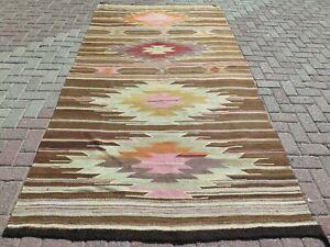 """Anatolia Rugs Vintage Turkish Kilim Handwoven Rug Oriental Floor Carpet 59""""X117"""""""
