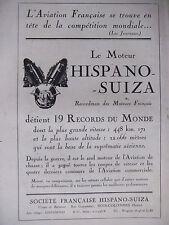 PUBLICITÉ 1920 LE MOTEUR HISPANO SUIZA RECORDMAN DES MOTEURS FRANÇAIS